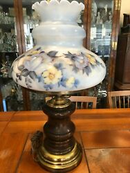 Vintage Gwtw Table Lamp Floral Handpainted Large Glass Shade, Wooden Base, 28 T