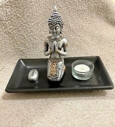 Buddha Statue Zen Garden With Tealight Candle Incense White Sand And Pebbles