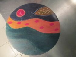 Kakadu Hand Painted Isreali Wooden Plate Charger Abstract Stream Of Life