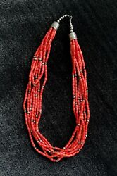 Coral Necklace Native American 7-strand Sterling Silver Accents