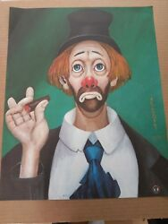 Red Skeleton Clown 1972 Lithograph Poster