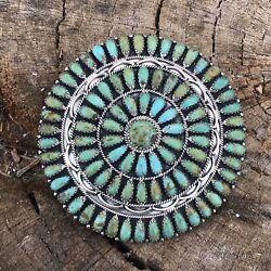 Navajo Jumbo Sterling Silver And Turquoise Cluster Pendant/pin Signed