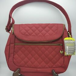 NEW ANTI THEFT TRAVELON Quilted Fold over Crossbody Travel Bag Purse RED $24.99
