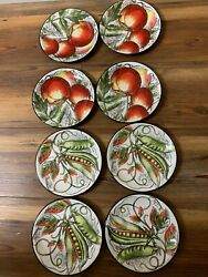 8 Total Fitz And Floyd Vista Bella 4 Tomato + 4 Peas Salad Plate Discontinued