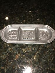 "Wilton Armetale Pewter Christmas Sm Oval Divided Tray 14quot;x 5 1 2"" GUC $19.95"