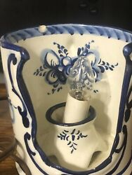 Pal Alcobaca Portugal Hand Painted Candle Holder Turned Lamp Cup Numbered Works