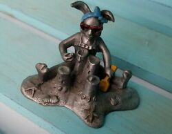 1984 Vintage HUDSON Pewter Metal Bunny Rabbit Making Sand Castles Beach Figure $13.99