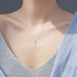 Sterling Silver 925 Small Plain Cross Women#x27;s Ladies Pendant Necklace Jewelry $11.89