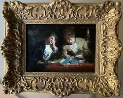 19th Century French Manner Of Edouard Vuillard Two Women Reading Oil/bd Look