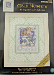 Dimensions Gold Nuggets Teatime Blossoms 8x10 Counted Cross Stitch Kit New