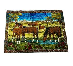 Horses Stallions Wall Hanging Tapestry Made In Lebanon 73 X 49 Vintage Colorful