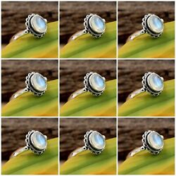 Solid 925 Sterling Silver Rainbow Moonstone Rings Wholesale Lot 9 Rings Size 6-8