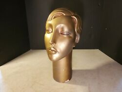 Old Mannequin Head Vintage Gold Color Store Display Merchandise Jewelry Style