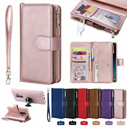 Zipper Leather Wallet Case Cover Removable For Samsung S20 S10 S9 Note 10 S8 S9