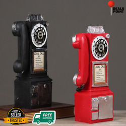 Wall-mounted Pay Phone Model Vintage Booth Telephone Figurine Rotary Antique