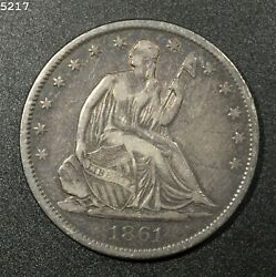 1861-s Liberty Seated Half Dollar Xf Free Sh After 1st Item