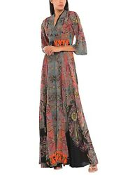 Etro Crepe Sequins Evening Dress Turkish Multiprint It42