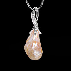 Galatea Carved Peach Lily Freshwater Pearl 14kt White Gold .15ct Diamonds