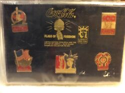 Flags Of Freedom Coca Cola And Statue Of Liberty 5 Pc Pin Set Sealed