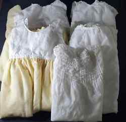 Antique Vtg Baby Christening Gown Victorian Edwardian Cotton Lace Dress Twin Lot