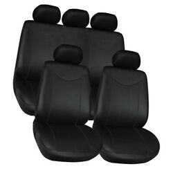 Covers Black Complete Full Set 9pcs For Auto Vehicle Upholstery