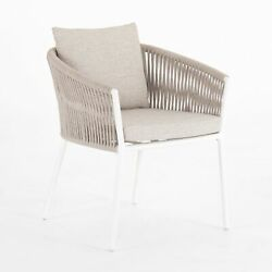 26 W Set Of 2 Outdoor Dining Chair White Metal 100 Olefin Rope Detail