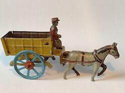 """Rare Antique German Penny Tin Toy Horse Pulling Wagon Cart Driver Germany 4.5"""""""