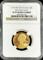 1978 Gold France 141 Minted Piefort 20 Centimes Ngc Proof 65 Ultra Cameo