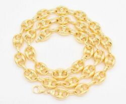 11mm Puffed Mariner Link Chain Necklace Real 14k Yellow Gold Unisex