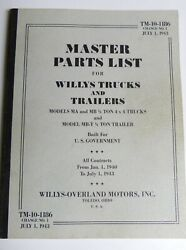 Tm10-1186 Master Parts List For Willys Trucks And Trailers - Modern Reprint Used
