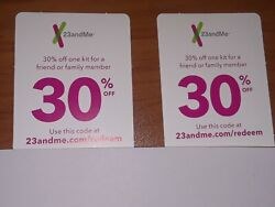 Lot Of 2 Count 23andme 30 Off Discount Codes Coupons Ancestry Lineage Kits