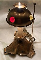 Stunning Rare Arts And Crafts Mission Style Copper Lamp With Glass Jewels