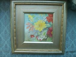 Old Vintage Pair Water Colour Flower Still Life Painting By Percy Lewis Floral O