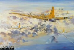 Original Oil Painting Ww2 Aviation Art Print Us Flying Fortress 447th Bomb Group