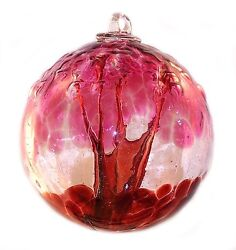 6 European Art Glass Spirit Tree Embossed Leaf Passion Red Witch Ball Kugel