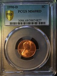 1990-d Pcgs Ms69rd Red Lincoln Memorial Cent Top Pop 6/0 Incredibly Nice Awesome
