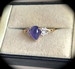Large 1.94ct Tanzanite Ring Y Gold Size P 1/2 'certified' Fab Colour Bnwt