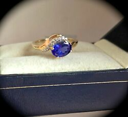 1.12ct Tanzanite And Diamond Ring Y Gold Size J 'certified Aa' Fab Colour Bnwt