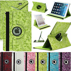 Ipad Air 1/2 Flowers Cover Case Pu-leather Smart Cover 360° Case Green