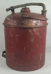Vintage Eagle Red Metal Gas Can Dual Handle And Adjustable Brass Spout And Holder