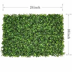 12 Pcs 24x16 Artificial Grass Panel Milan Wall Boxwood Hedge Mat Privacy Fence