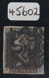 Sg 2 1d Black Plate 9 Lettered Fb. Very Fine Used Cancelled With A Red And Black..