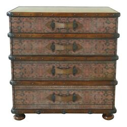 32419ec Theodore Alexander 4 Drawer Leather Decorated Chest W. Leather New