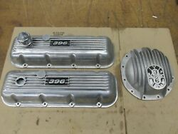 Rare Vintage Bbc Chevy 396 Finned Valve Covers And12 Bolt Rear End Cover Baldwin