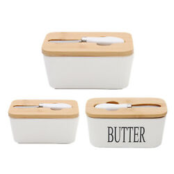 Ceramic Butter Dish With Knife And Lid Airtight French Butter Keeper Container