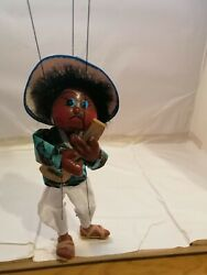 Vintage Traditional Mexican Hand Made And Painted Paper Mache Marionette Puppet