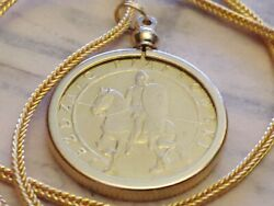 2006 Polish Calvary Mounted Piast Knight Coin Pendant W 28 18kgf Foxtail Chain