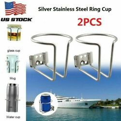 2pcs Universal Stainless Steel Boat Ring Cup Drink Holder For Marine Yacht Truck