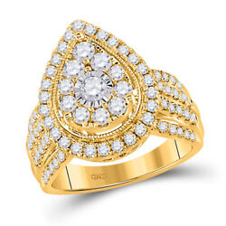 14kt Yellow Gold Womens Round Diamond Teardrop Pear Cluster Ring 1-1/2 Cttw