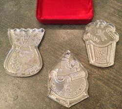 Waterford Society Crystal Christmas Ornament Lot Of 3 1998 1999 2000 Ireland